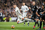Carlos Henrique Casemiro (l) of Real Madrid gets tripped up during the La Liga match between Real Madrid and RC Deportivo La Coruna at the Santiago Bernabeu Stadium on 10 December 2016 in Madrid, Spain. Photo by Diego Gonzalez Souto / Power Sport Images