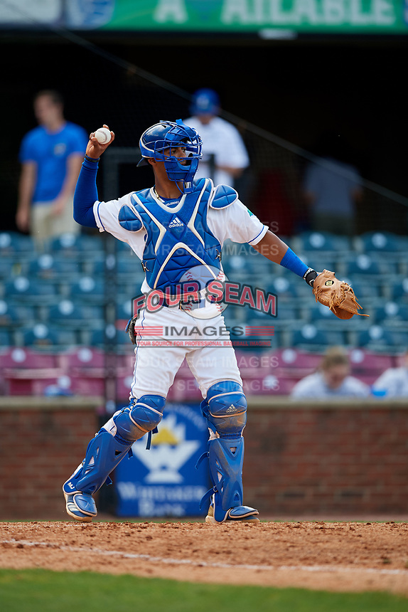 Lexington Legends catcher MJ Melendez (7) throws back to the pitcher during a game against the Rome Braves on May 23, 2018 at Whitaker Bank Ballpark in Lexington, Kentucky.  Rome defeated Lexington 4-1.  (Mike Janes/Four Seam Images)