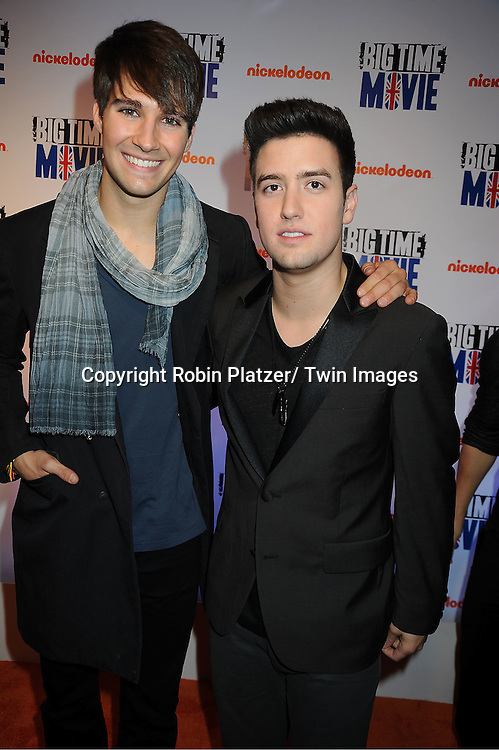 "Big Time Rush""s  James Maslow and Logan Henderson attend The movie premiere of "" Big Time Movie"" starring .Big Time Rush of Nickelodeon on March 8, 2012 at 583 Park Avenue in New York City."