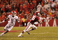 NWA Media/Michael Woods --10/11/2014-- w @NWAMICHAELW...University of Arkansas receiver Demetrius Wilson makes a juggling catch in front of Alabama defender Cyrun Jones in the 3rd quarter of Saturdays game at Razorback Stadium in Fayetteville.
