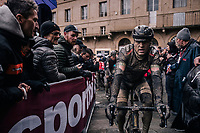 Greg Van Avermaet (BEL/BMC) rolling in after a (for him) dissapointing day.<br /> <br /> 12th Strade Bianche 2018<br /> Siena &gt; Siena: 184km (ITALY)