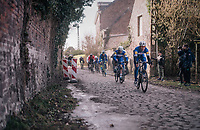 Philippe Gilbert (BEL/Quick Step floors) leading over the cobbles<br /> <br /> 50th GP Samyn 2018<br /> Quaregnon &gt; Dour: 200km (BELGIUM)