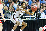 Washington, DC - MAR 10, 2018: St. Bonaventure Bonnies guard Izaiah Brockington (21) passes the ball during semi final match up of the Atlantic 10 men's basketball championship between Davidson and St. Bonaventure at the Capital One Arena in Washington, DC. (Photo by Phil Peters/Media Images International)
