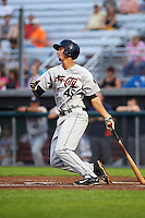Tri-City ValleyCats first baseman Taylor Jones (46) at bat during a game against the Auburn Doubledays on August 25, 2016 at Falcon Park in Auburn, New York.  Tri-City defeated Auburn 4-3.  (Mike Janes/Four Seam Images)