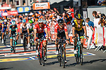 Tiesj Benoot (BEL) Lotto Soudal, Robert Gesink (NED) Lotto NL-Jumbo and Bauke Mollema (NED) Trek-Segafredo cross the finish line of the 2018 Liège - Bastogne - Liège (UCI WorldTour), Belgium, 22 April 2018, Photo by Thomas van Bracht / PelotonPhotos.com