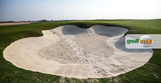 View of the fairway bunker down the 17th at Al Zorah Golf Club, Dubai, United Arab Emirates.  26/01/2016. Picture: Golffile | David Lloyd<br /> <br /> All photos usage must carry mandatory copyright credit (&copy; Golffile | David Lloyd)