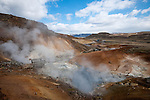 PENINSULA REYKJANES - ICELAND - MAY 07, 2012: Reykjanes is a peninsula situated in the South-West of Iceland. Reykjanes shows active volcanism, large lava fields, hot springs, solfataras etc. Some of the important sights in this area are the Kleifarvatn lake, the Krýsuvík geothermal area, the Blue Lagoon and the Bridge between the two continents (Leif the Lucky Bridge). (Photo by Dirk Markgraf)