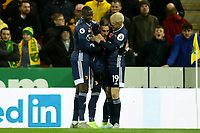 8th November 2019; Carrow Road, Norwich, Norfolk, England, English Premier League Football, Norwich versus Watford; Gerard Deulofeu of Watford celebrates his goal for 0-1 in the 2nd minute - Strictly Editorial Use Only. No use with unauthorized audio, video, data, fixture lists, club/league logos or 'live' services. Online in-match use limited to 120 images, no video emulation. No use in betting, games or single club/league/player publications