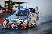 Jan 24, 2009; Chandler, AZ, USA; NHRA funny car driver Del Worsham does a burnout during testing at the National Time Trials at Firebird International Raceway. Mandatory Credit: Mark J. Rebilas-