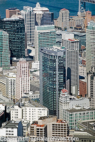 aerial photograph Four Seasons Hotel and adjacent skyscrapers San Francisco