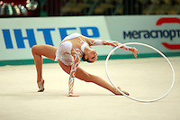 "Anna Bessonova of Ukraine begins routine with hoop at 2008 World Cup Kiev, ""Deriugina Cup"" in Kiev, Ukraine on March 22, 2008."