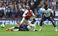 Arsenal's Alexandre Lacazette is challenged by Tottenham Hotspur's Danny Rose<br /> <br /> Photographer Rob Newell/CameraSport<br /> <br /> The Premier League - Tottenham Hotspur v Arsenal - Saturday 2nd March 2019 - Wembley Stadium - London<br /> <br /> World Copyright © 2019 CameraSport. All rights reserved. 43 Linden Ave. Countesthorpe. Leicester. England. LE8 5PG - Tel: +44 (0) 116 277 4147 - admin@camerasport.com - www.camerasport.com