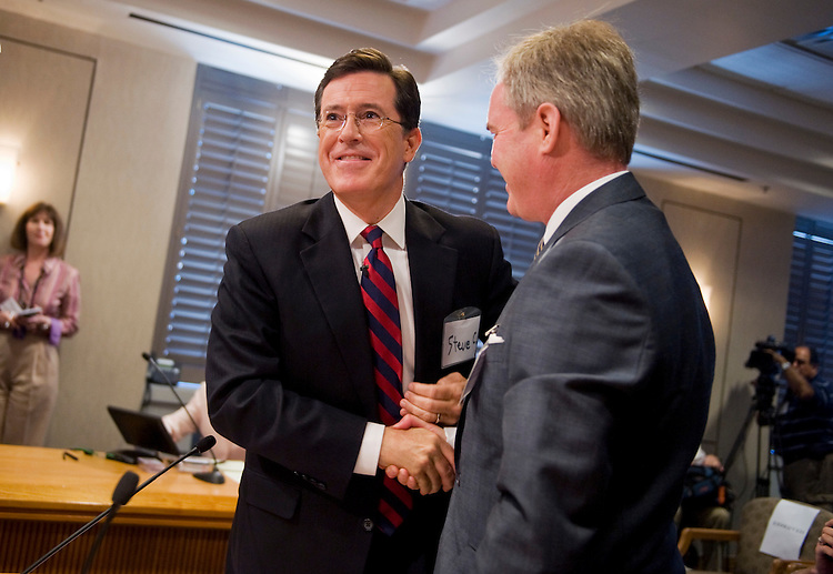 UNITED STATES - JUNE 30:  Stephen Colbert, left, of Comedy Central, and his attorney Trevor Potter, wrap up testimony at the Federal Election Commission (FEC) offices downtown where they appeared before the commission to request permission to set up a political action committee (PAC) called the Colbert Super PAC.  The request was subsequently approved by the commission. (Photo By Tom Williams/Roll Call)