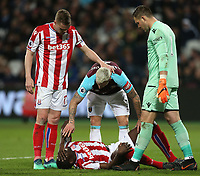 West Ham United's Marko Arnautovic checks on Stoke City's Bruno Martins Indi<br /> <br /> Photographer Rob Newell/CameraSport<br /> <br /> The Premier League - West Ham United v Stoke City - Monday 16th April 2018 - London Stadium - London<br /> <br /> World Copyright &copy; 2018 CameraSport. All rights reserved. 43 Linden Ave. Countesthorpe. Leicester. England. LE8 5PG - Tel: +44 (0) 116 277 4147 - admin@camerasport.com - www.camerasport.com