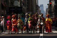 NEW YORK, NY - APRIL 16: People take part in the Annual Easter parade on April 16, 2017 in New York City.  The Easter Parade and Easter Bonnet Festival is characterized by revelers dressed in their holiday finery, which typically includes handmade hats, while they gather around St. Patrick's Cathedral to show their creations. Photo by VIEWpress/Eduardo MunozAlvarez