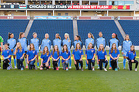 Bridgeview, IL, USA - Saturday, April 23, 2016: Chicago Red Stars Starting XI and player escorts before a regular season National Women's Soccer League match between the Chicago Red Stars and the Western New York Flash at Toyota Park. Chicago won 1-0.