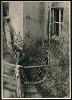 BNPS.co.uk (01202 558833)<br /> Pic: Warwick&Warwick/BNPS<br /> <br /> An extremely long rope from a loft window made from knotted bedsheets indicates another escape bid by the ingenious inmates of Colditz. <br /> <br /> A remarkable archive of photos which provide a glimpse inside the infamous Colditz Castle has come to light.<br /> <br /> The photos show the ingenuity of the Allied POWs who devised ever-bolder ways to escape from the German stronghold during World War Two.<br /> <br /> One image is of a dummy they would hold up to trick the German guards into believing the escaper was still with them during parade head counts. Others reveal the tunnels which were dug using tools smuggled into the 11th century castle in care parcels.<br /> <br /> The photos were taken by the official Colditz photographer Johannes Lange, who was employed by the German Army to take pictures of failed Allied escape attempts. They were then distributed to other POW camps to alert the guards to the methods the inmates were using in their bids for freedom.<br /> <br /> The archive is being sold by a private collector with auctioneer Warwick & Warwick, with an estimate of £1,750.
