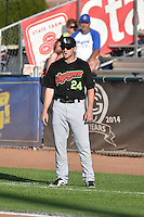 Hunter Jones (24) of the Great Falls Voyagers during the game against the Ogden Raptors in Pioneer League action at Lindquist Field on July 16, 2014 in Ogden, Utah.  (Stephen Smith/Four Seam Images)