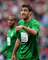 FUSSBALL   1. BUNDESLIGA   SAISON 2012/2013   3. SPIELTAG Hannover 96 - SV Werder Bremen     15.09.2012 Sokratis Papastathopoulos (SV Werder Bremen) ist enttaeuscht