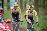 Mike Teunissen (NLD/LottoNL-Jumbo) &amp; Jos van Emden (NLD/LottoNL-Jumbo) up the C&ocirc;te de Wanne (2200m/7.5%)<br /> <br /> 101th Li&egrave;ge-Bastogne-Li&egrave;ge 2015