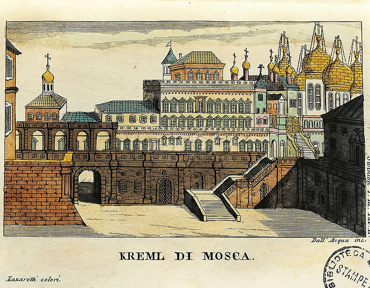 Russia, Moscow, View of the Kremlin, from travels from St. Petersburg to Germany by Georg Reinbeck (1766-1849), print, 1805