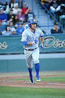 Kyle Plantier (22) of the UC Santa Barbara Gauchos runs to first base during a game against the Cal State Long Beach Dirtbags at Blair Field on April 1, 2016 in Long Beach, California. UC Santa Barbara defeated Cal State Long Beach, 4-3. (Larry Goren/Four Seam Images)