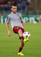 Calcio, Champions League, Gruppo E: Roma vs CSKA Mosca. Roma, stadio Olimpico, 17 settembre 2014.<br /> Roma midfielder Alessandro Florenzi warms up prior to the start of the Group E Champions League football match between AS Roma and CSKA Moskva at Rome's Olympic stadium, 17 September 2014.<br /> UPDATE IMAGES PRESS/Isabella Bonotto