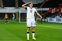 George Byers of Swansea City celebrates scoring his side's second goal during the Carabao Cup Second Round match between Swansea City and Cambridge United at the Liberty Stadium in Swansea, Wales, UK. Wednesday 28, August 2019.