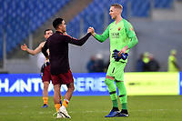 Justin Kluivert of AS Roma and Patrick Robin Olsen of AS Roma celebrates at the end of the Serie A 2018/2019 football match between AS Roma and UC Sampdoria at stadio Olimpico, Roma, November, 11, 2018 <br />  Foto Andrea Staccioli / Insidefoto