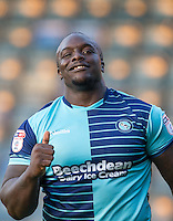 Goalscorer Adebayo Akinfenwa of Wycombe Wanderers gives supporters a thumb up during the Sky Bet League 2 match between Wycombe Wanderers and Accrington Stanley at Adams Park, High Wycombe, England on 16 August 2016. Photo by Andy Rowland.