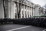 Kiev, Ukraine - 03 december 2013: Milician of the police. Mostly composed of young policemen, they are known as much less violent than the berkut (ukrainian riot police). Some of them even voiced their support toward the cause of Euromaidan. Credit: Niels Ackermann / Rezo.ch