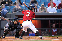Nashville Sounds third baseman Taylor Green #3 at bat during a game against the Omaha Storm Chasers at Greer Stadium on April 25, 2011 in Nashville, Tennessee.  Omaha defeated Nashville 2-1.  Photo By Mike Janes/Four Seam Images