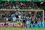 9th January 2018, nib Stadium, Perth, Australia; A League football, Perth Glory versus Melbourne City; Scott Neville of the Perth Glory gets up high but misses the header during the second half