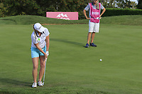 Jacqui Concolina (USA) chips onto the 5th green during Thursday's Round 1 of The Evian Championship 2018, held at the Evian Resort Golf Club, Evian-les-Bains, France. 13th September 2018.<br /> Picture: Eoin Clarke | Golffile<br /> <br /> <br /> All photos usage must carry mandatory copyright credit (© Golffile | Eoin Clarke)