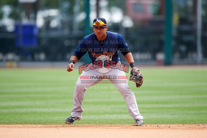 Scranton/Wilkes-Barre RailRiders second baseman Donovan Solano (17) during a game against the Buffalo Bisons on July 2, 2016 at Coca-Cola Field in Buffalo, New York.  Scranton defeated Buffalo 5-1.  (Mike Janes/Four Seam Images)