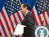 United States Secretary of Labor Alex Acosta departs after holding a press conference at the Department of Labor in Washington, DC on Wednesday, July 10, 2019.  He was discussing his prosecution of Jeffrey Epstein in Florida in 2008.<br /> Credit: Ron Sachs / CNP<br /> (RESTRICTION: NO New York or New Jersey Newspapers or newspapers within a 75 mile radius of New York City)