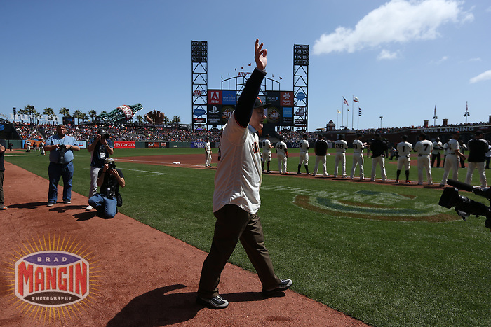"SAN FRANCISCO, CA - APRIL 8:  John ""The Count"" Montefusco of the San Francisco Giants waves to the fans during a pre-game ceremony before the game against the Los Angeles Dodgers at AT&T Park on Sunday, April 8, 2018 in San Francisco, California. (Photo by Brad Mangin)"