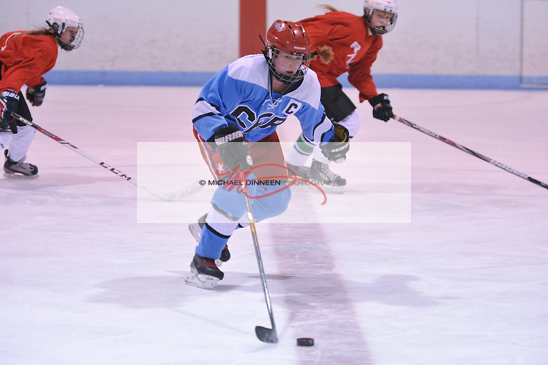 CHS/ER Captain Jade Pandres heads up ice during Thursday's game with the Mat-Su Ravens.  Photo for the Star by Michael Dinneen