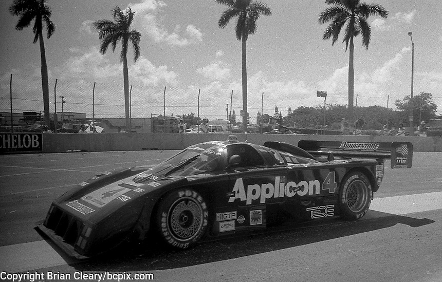 #4 Ford Mustang GTP of Scott Pruett and Whitney Ganz in action at the IMSA Grand-Prix of Palm Beach, West Palm Beach, FL, June 21, 1987.  (Photo by Brian Cleary/www.bcpix.com)