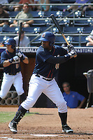 Durham Bulls infielder Juan Miranda #46 at bat during a game against the Louisville Bats at Durham Bulls Athletic Park on May 2, 2012 in Durham, North Carolina. Durham defeated Louisville by the score of 7-5. (Robert Gurganus/Four Seam Images)