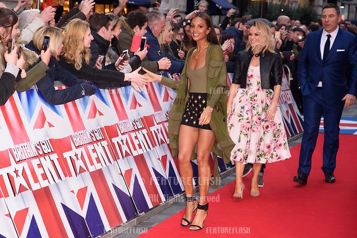 Alesha Dixon, Amanda Holden &amp; David Walliams at the London auditions for Britain's Got Talent 2018 at the London Palladium, London, UK. <br /> 28 January  2018<br /> Picture: Steve Vas/Featureflash/SilverHub 0208 004 5359 sales@silverhubmedia.com