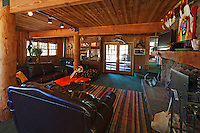 Stock photo of living / family room in rustic ranch house