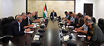 Palestinian Prime Minister, Rami Hamdallah, chairs a meeting of the leaders of the security establishment, in the West Bank city of Ramallah, on May 23, 2018. Photo by Prime Minister Office