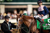 LEXINGTON, KY - OCTOBER 07: Zippesa #5 poses in the winners circle with Joe Bravo up after winning the First Lady Stakes at Keeneland Race Course on October 07, 2017 in Lexington, Kentucky. (Photo by Alex Evers/Eclipse Sportswire/Getty Images)