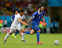 Georgios Samaras of Greece and Johnny Acosta of Costa Rica in action