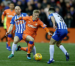 09.02.2019: Kilmarnock v Rangers : Ross McCrorie tripped by Chris Burke