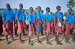 Students line up at the Loreto Primary School in Rumbek, South Sudan. While focused on educating girls from throughout the war-torn country, the school, run by the Institute for the Blessed Virgin Mary--the Loreto Sisters--of Ireland, also educates children from nearby communities.