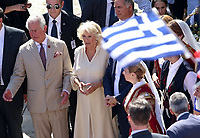 Pictured: Prince Charles and wife the Duchess of Cornwall at the village of Arhanes on the island of Crete, Greece. Friday 11 May 2018 <br /> Re: HRH Prnce Charles and his wife the Duchess of Cornwall visit thevillage of Arhanes near Heraklion, Greece.