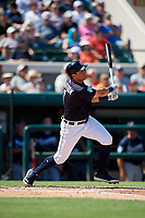 Detroit Tigers left fielder Mikie Mahtook (8) follows through on a swing during a Grapefruit League Spring Training game against the Atlanta Braves on March 2, 2019 at Publix Field at Joker Marchant Stadium in Lakeland, Florida.  Tigers defeated the Braves 7-4.  (Mike Janes/Four Seam Images)