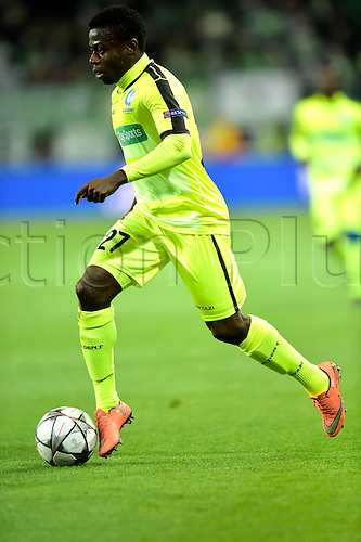 08.03.2016. Wolfsburg, Germany.  Simon Moses Daddy Ajala forward of KAA Gent in action during the Champions League Round of 16, second leg match between VfL Wolfsburg and KAA Gent at the Volkswagen Arena in Wolfsburg, Germany.